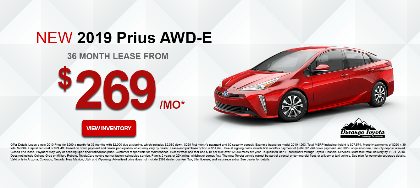 2019 Toyota Prius AWD-E October Lease Offer
