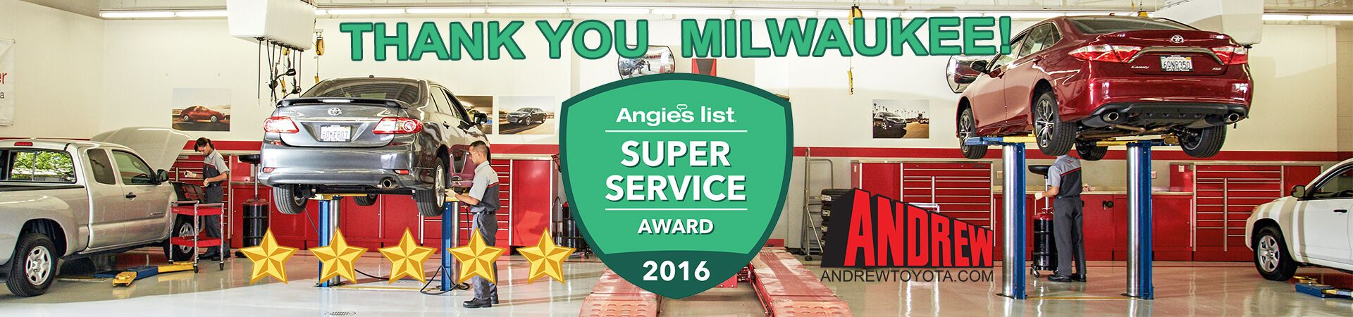 Andrew Toyota Receives the 2016 Angie's List Super Service Award
