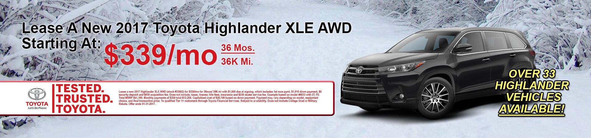 January Highlander Specials at Andrew Toyota
