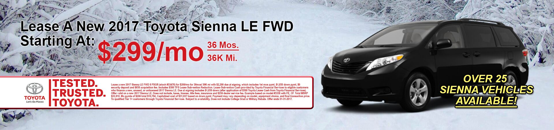 January Sienna Deals at Andrew Toyota