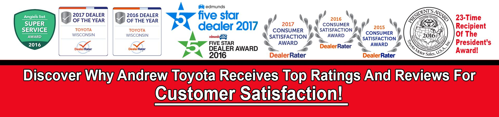 Andrew Toyota's Awards and Reviews- Click here to read what our customers are saying about us!