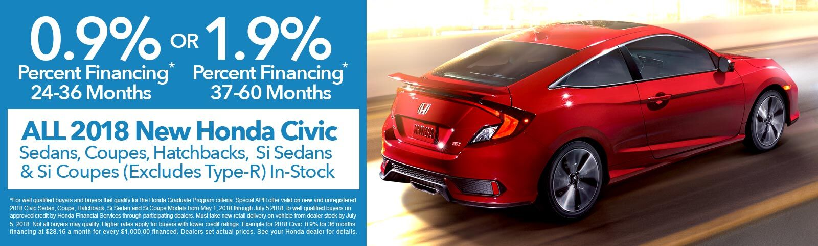 0.9 Percent APR 2018 Honda Civics