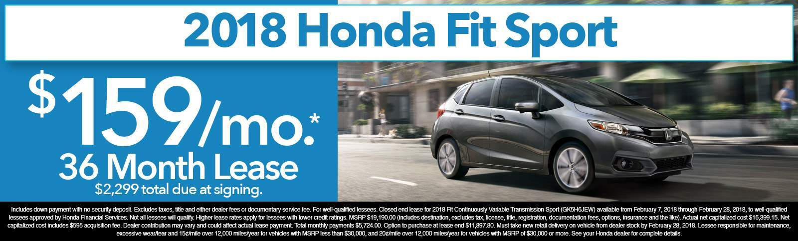 2018 Honda Fit Spot Lease