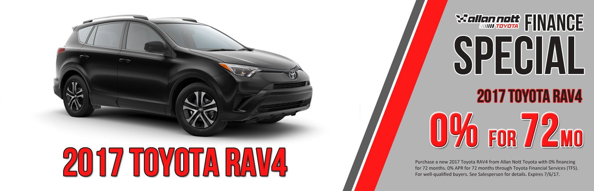 0% for up to 72 Months on 2017 Toyota RAV4s!