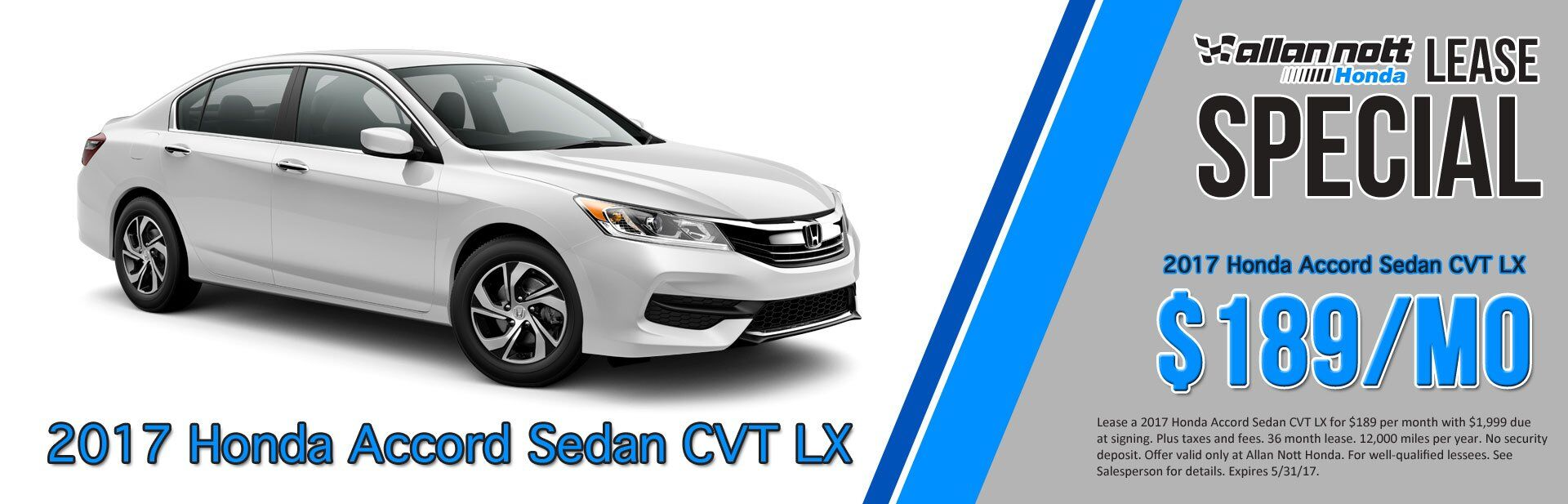 Allan Nott Honda Lease Special: 2017 Honda Accord Sedan CVT LX