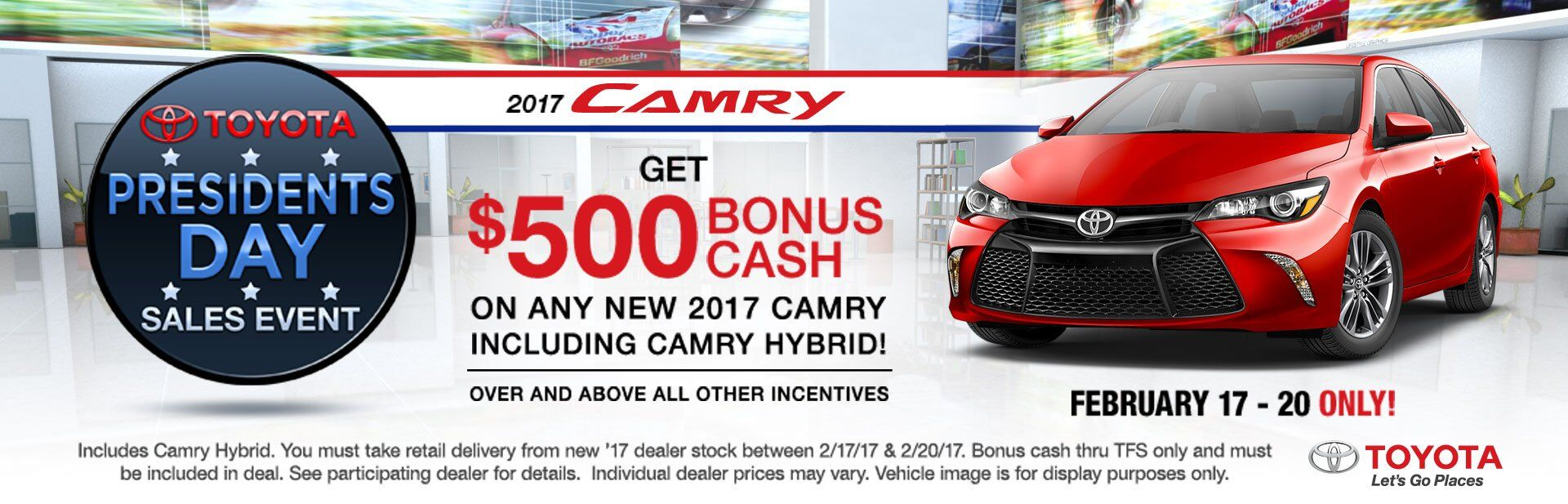 $500 BONUS CASH on 2017 Toyota Camry on Top of All Other Offers!