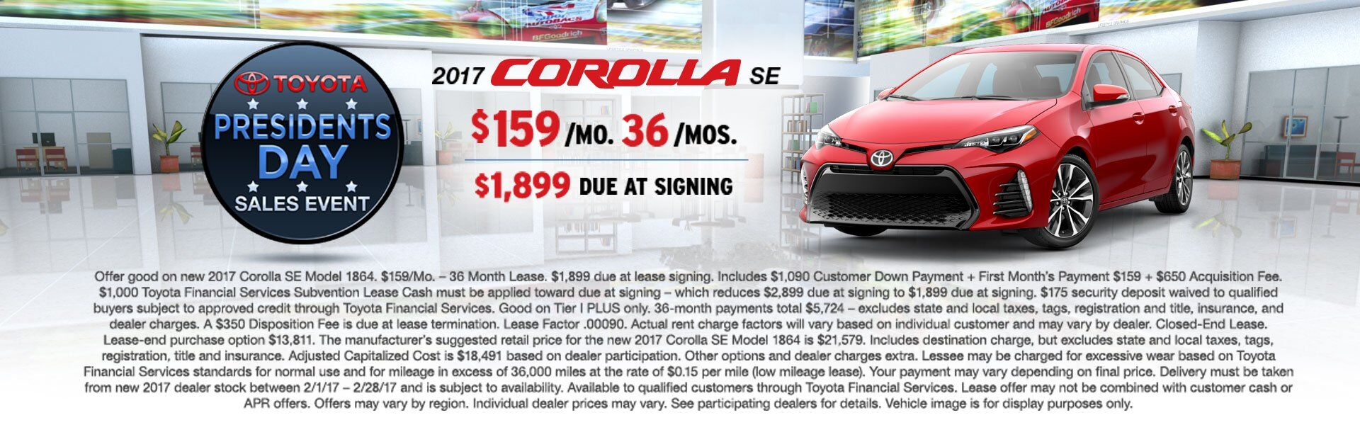Lease a 2017 Toyota Corolla SE for $159/Mo!