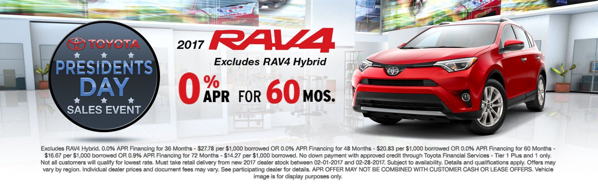 0% APR for 60 Mo on 2017 Toyota RAV4!