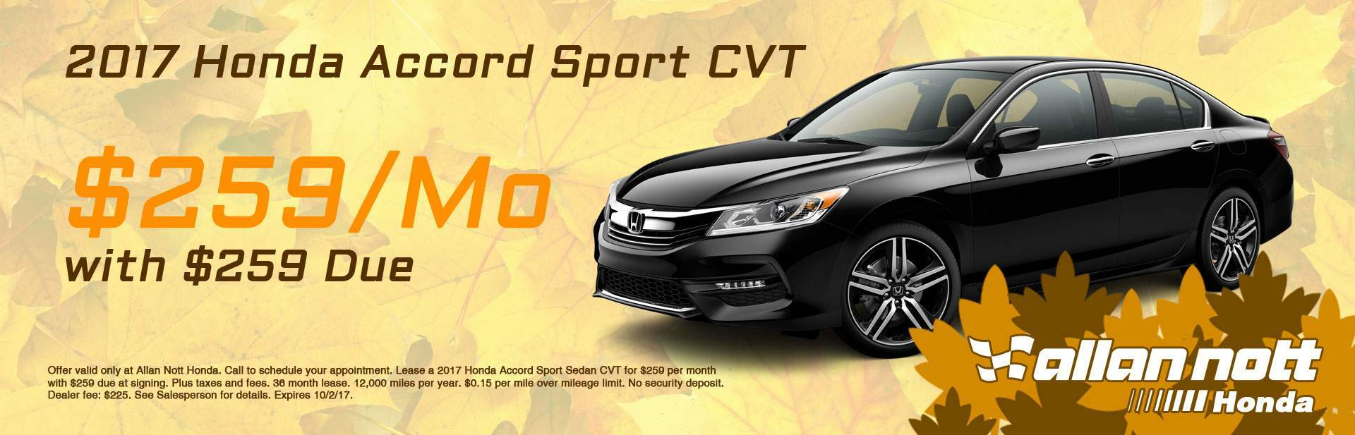 Lease a 2017 Honda Accord Sport for $259/Mo from Allan Nott Honda today!