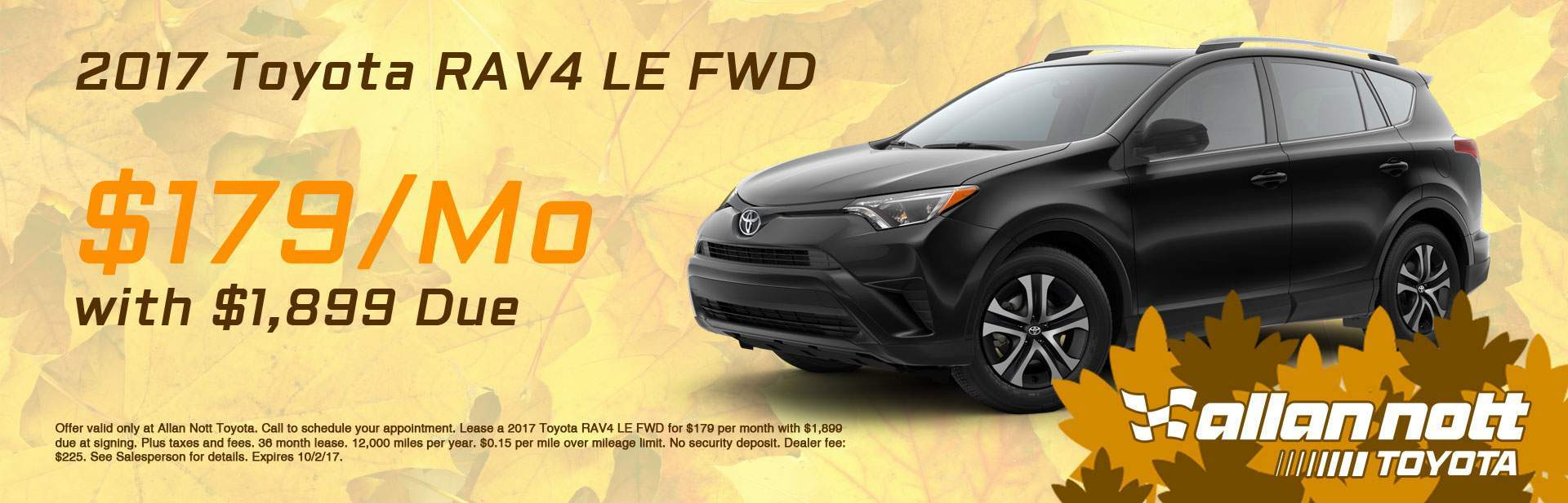 Lease a 2017 Toyota RAV4 LE FWD for $179/Mo from Allan Nott today!