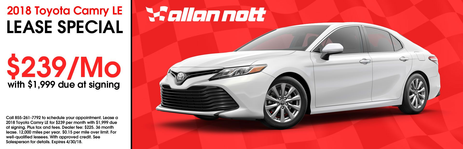 April 2018 - Toyota Camry LE Lease Special