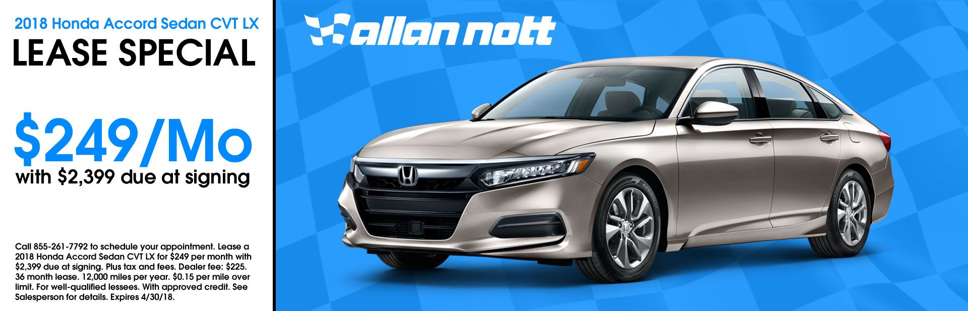 April 2018 - 2018 Honda Accord Sedan CVT LX Lease Special