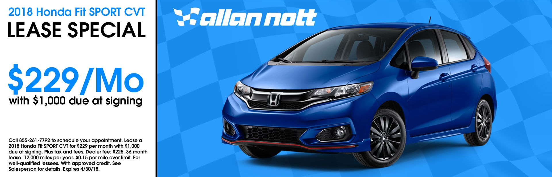 April 2018 - 2018 Honda Fit Sport CVT Lease Special