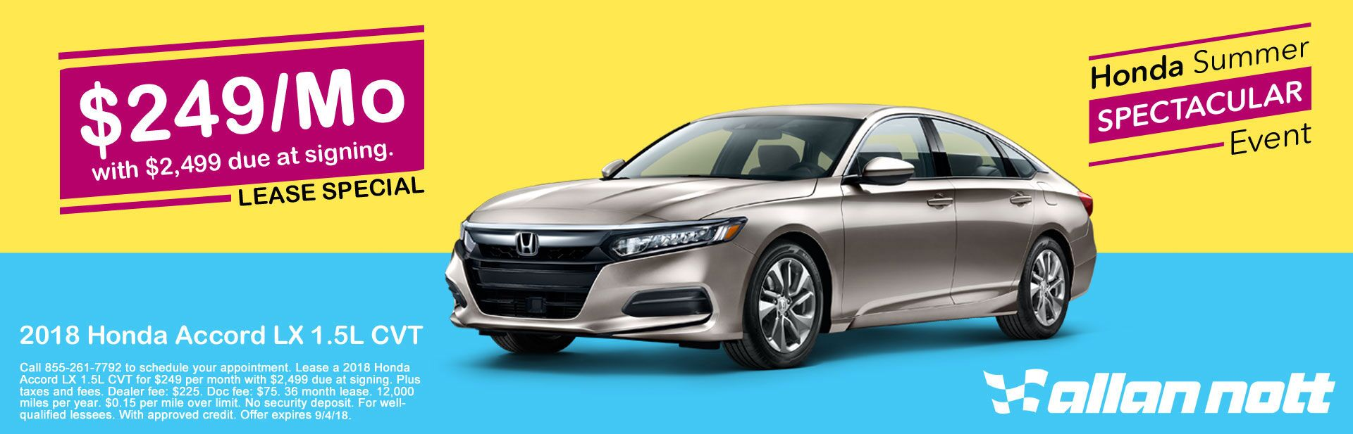2018 Honda Accord LX 1.5L Lease Special
