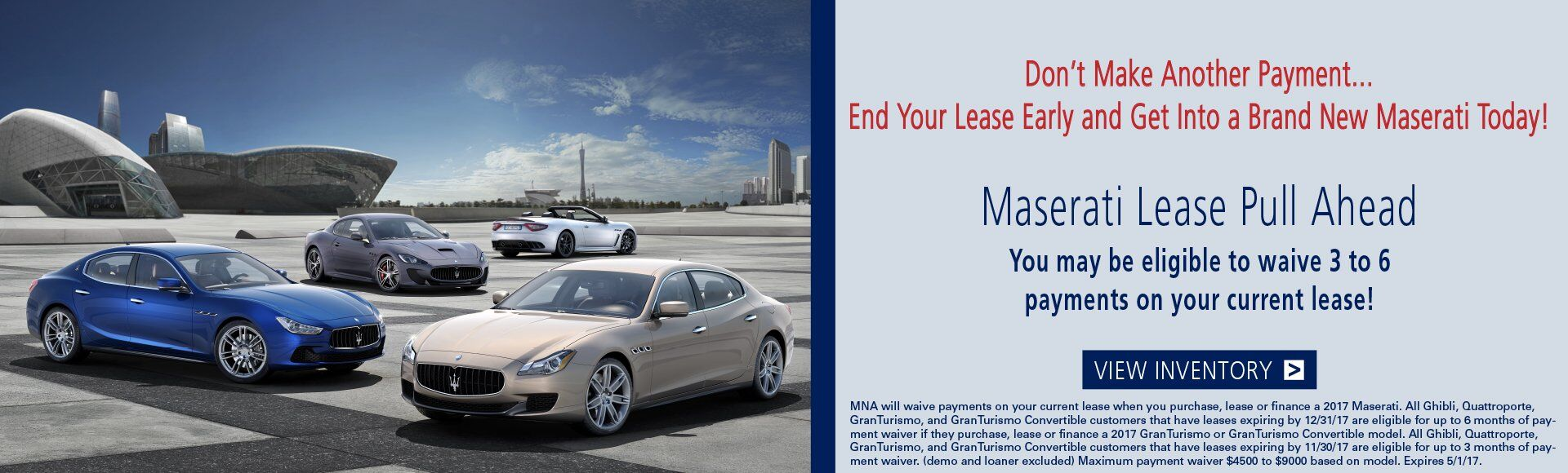 Maserati Lease Pull Ahead Event