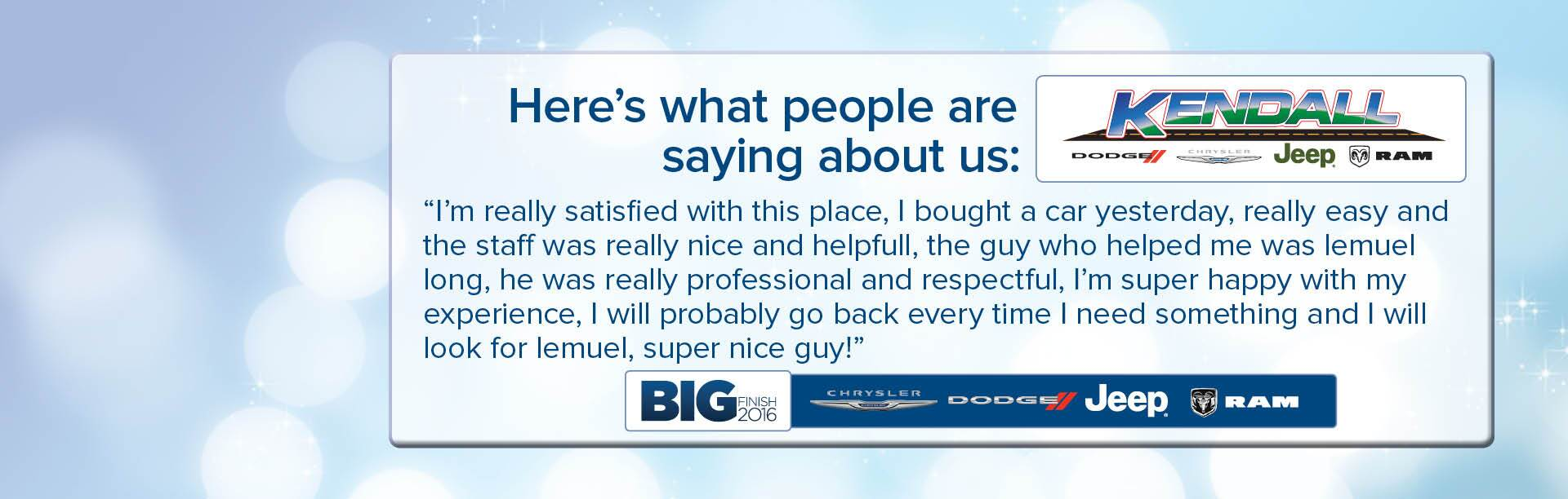 Testimonals!! See what others are saying about us