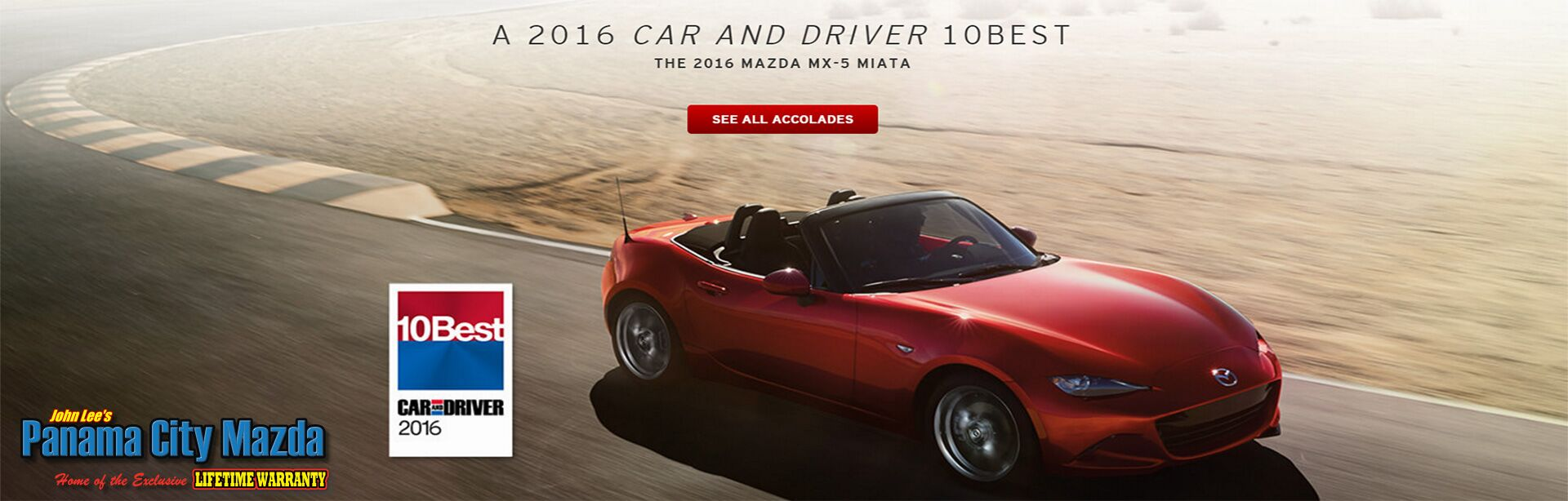 2016 MX-5 Miata - Car and Driver Ten Best Vehicles!