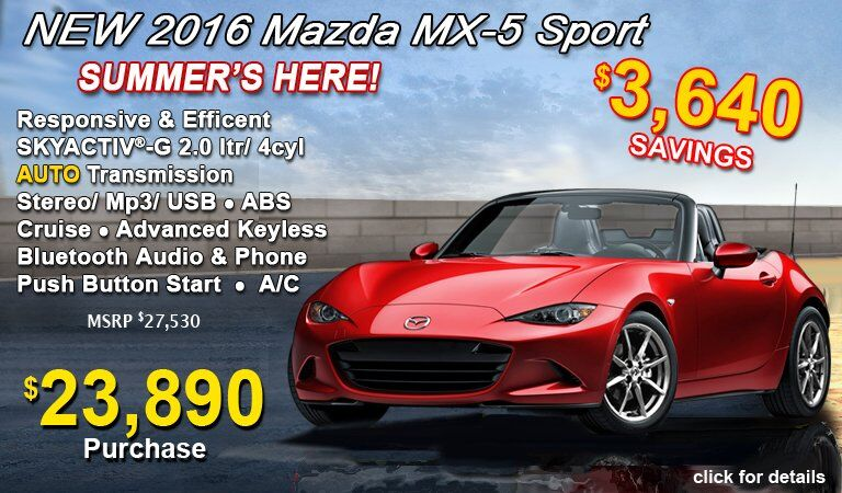 SAVE $3690 on a new Mazda MX-5