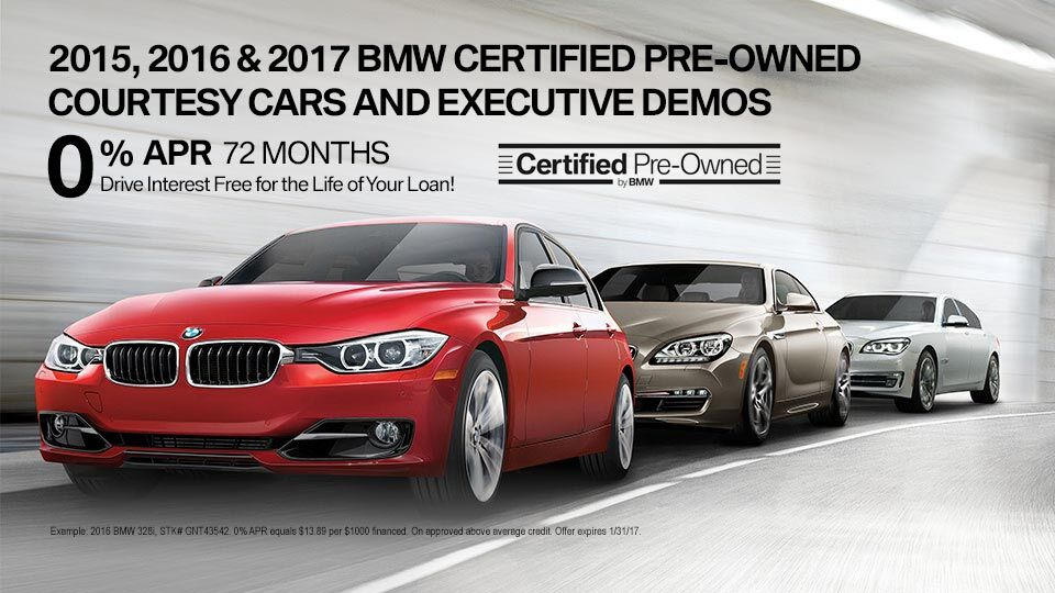 2015, 2016, 2017 BMW certified pre-owned courtesy cars and executive demos