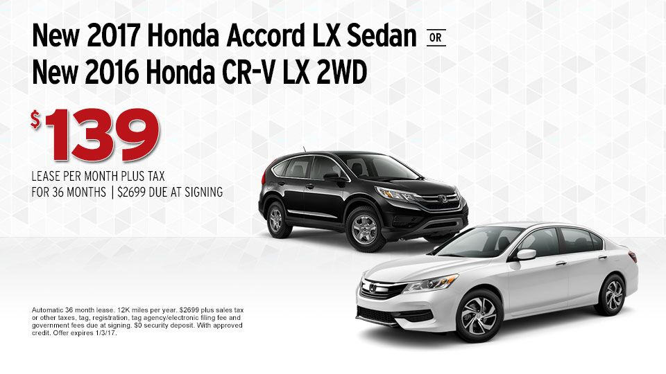 2017 Honda Accord and 2016 Honda CR-V