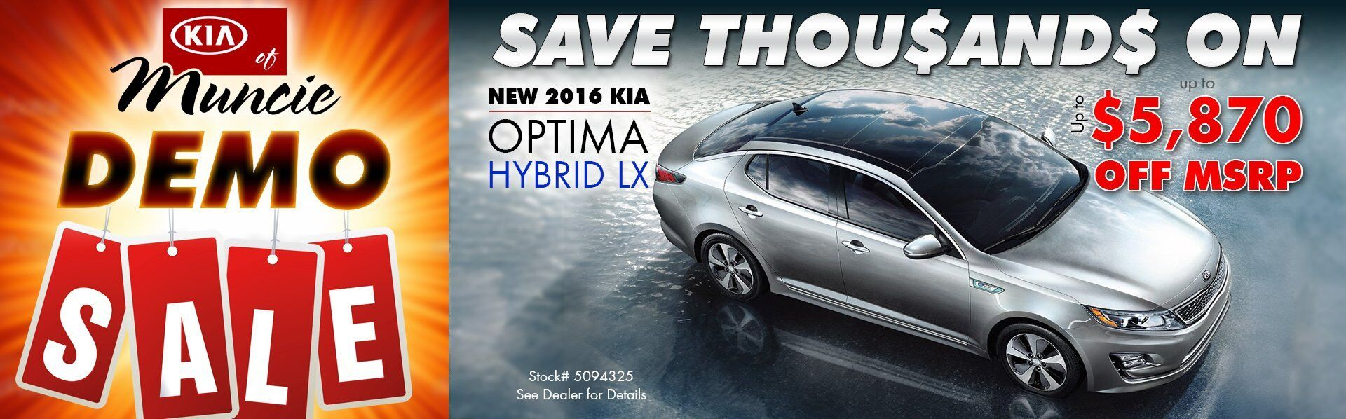 DEMO SALE - 2016 Optima Hybrid