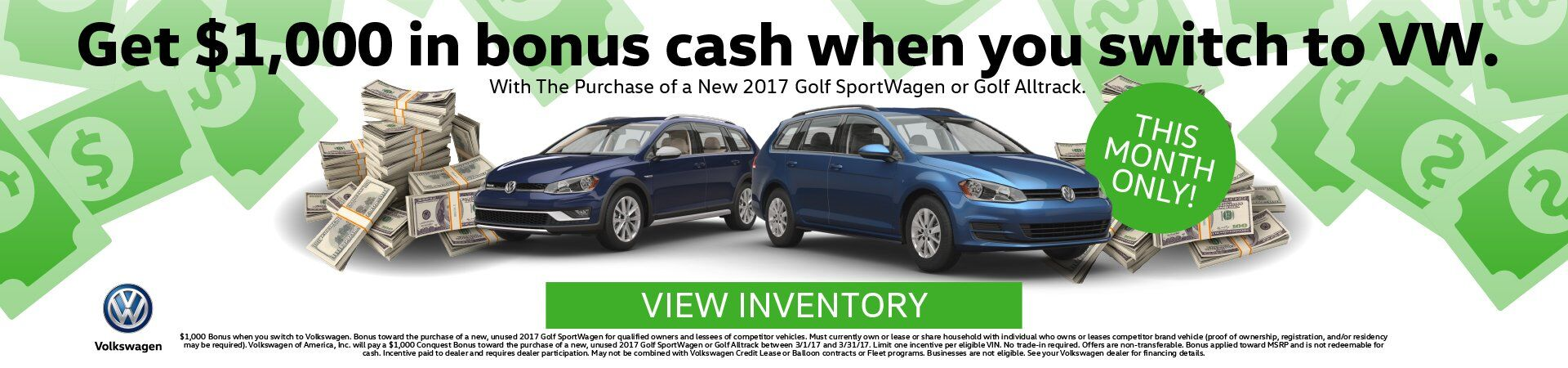 March 2017 Sportwagen Bonus Cash
