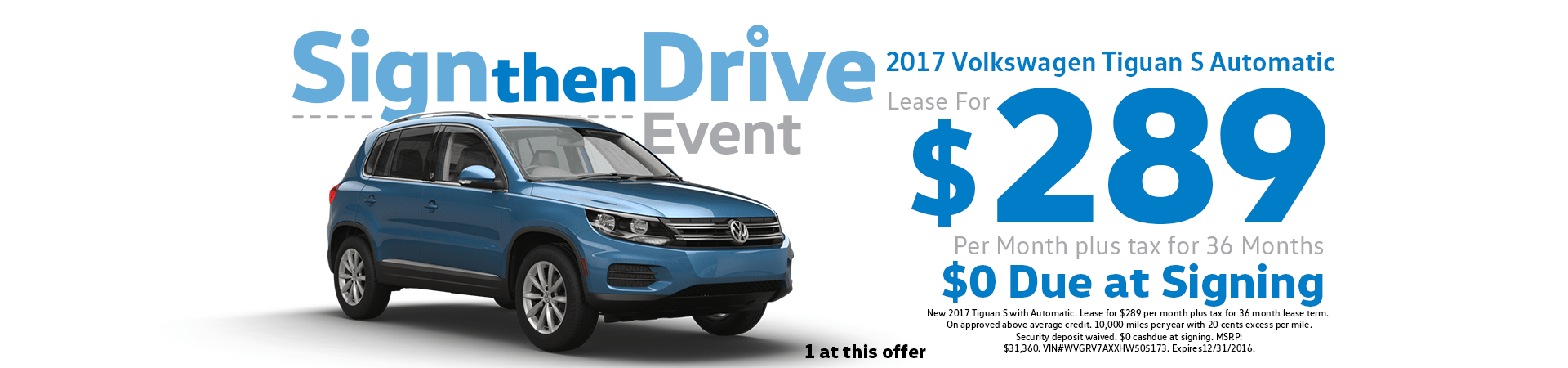 2017 Tiguan Lease for $289