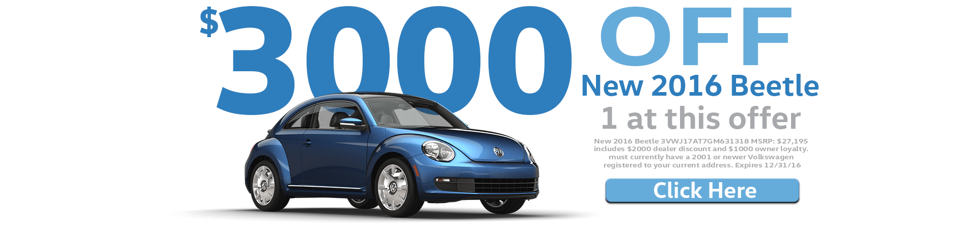 $3000 Off a New 2016 Beetle