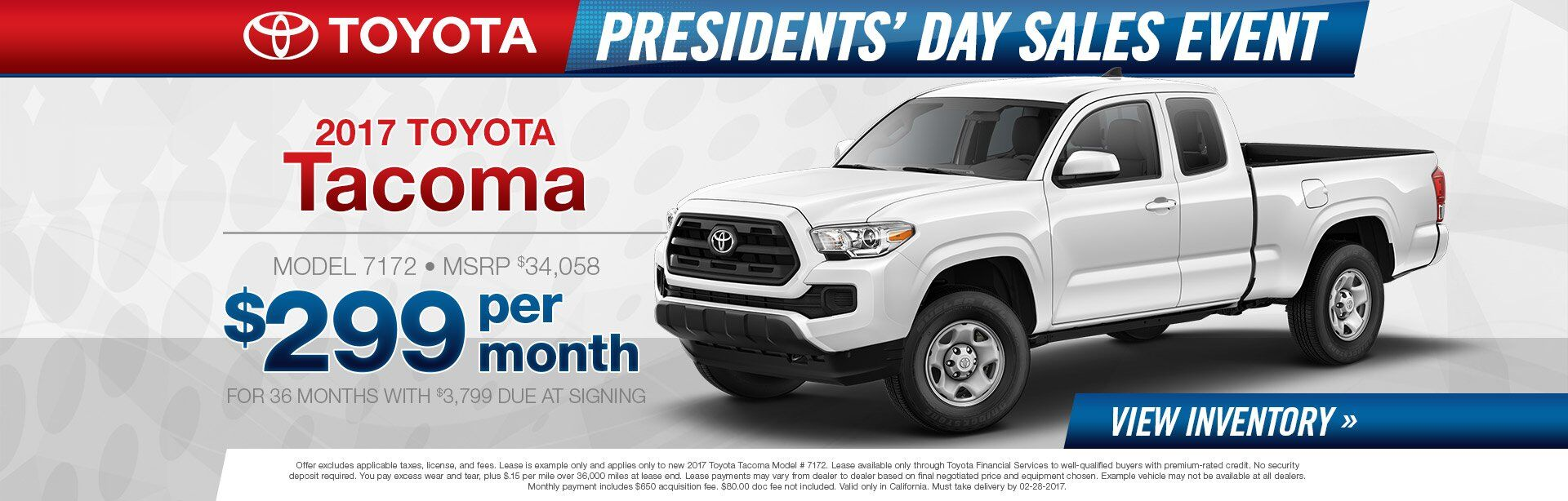Tacoma Presidents Day Sale