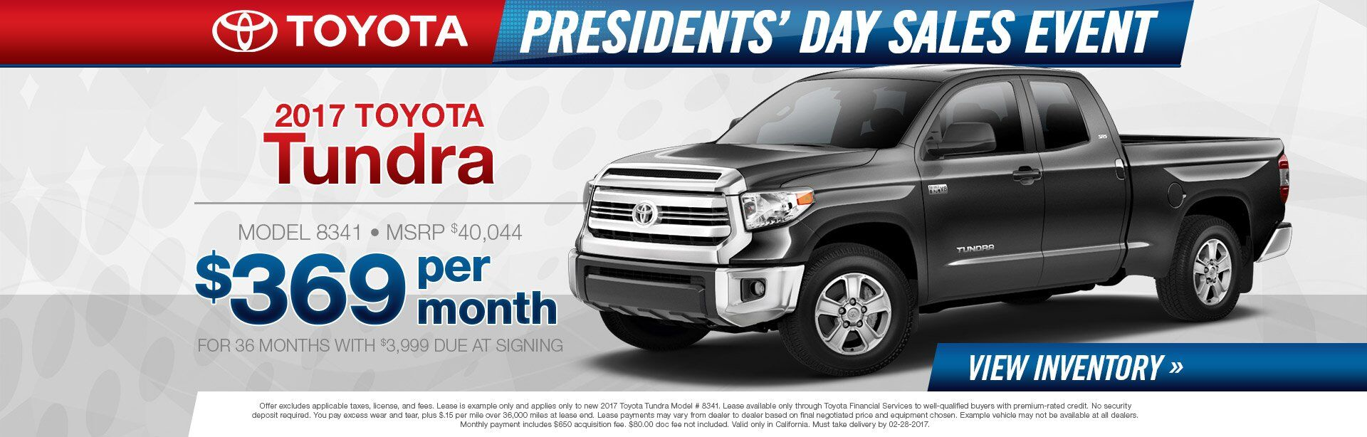 Tundra Presidents Day Sale