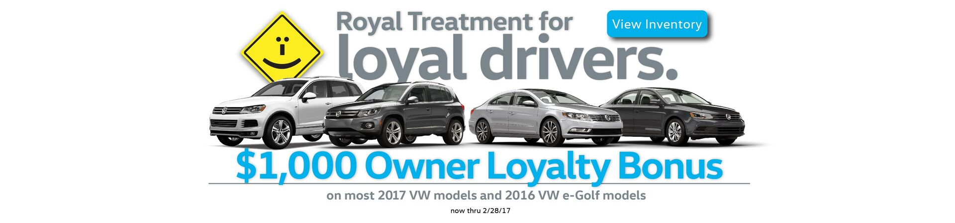 $1,000 Owner Loyalty Bonus on select new 2017 VW models & 2016 VW e-Golf