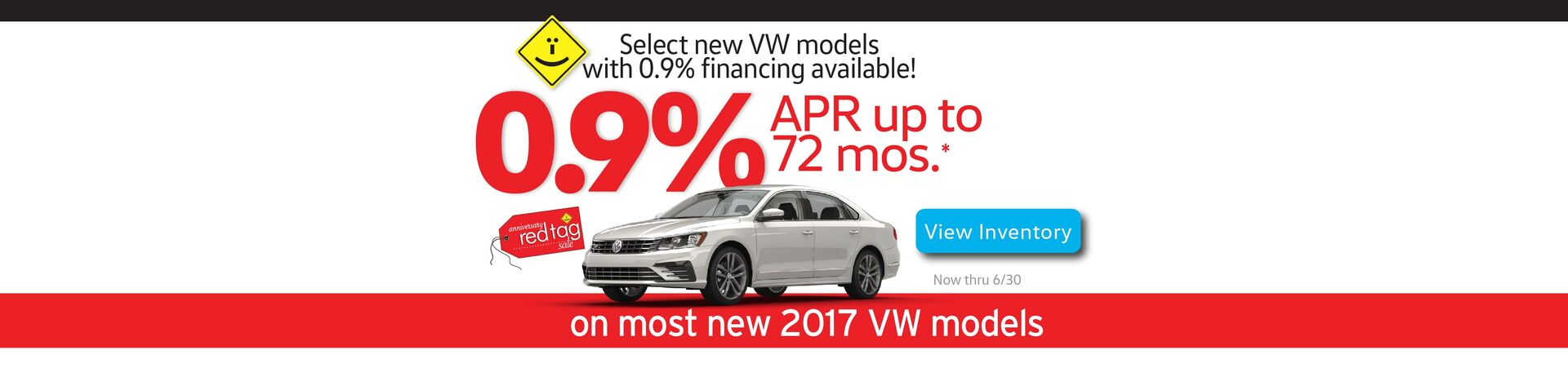 Capistrano VW June 0.9% APR for 72 months on select new 2017 VW models