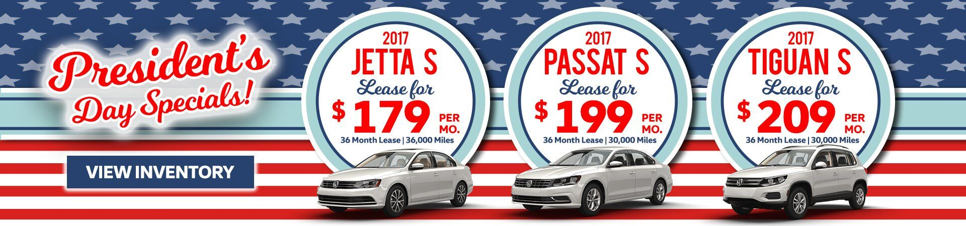 Jetta, Passat, Tiguan lease offer