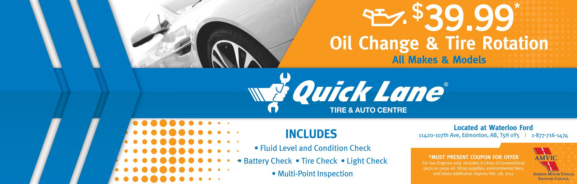 $39.99 Oil Change & Tire Rotation