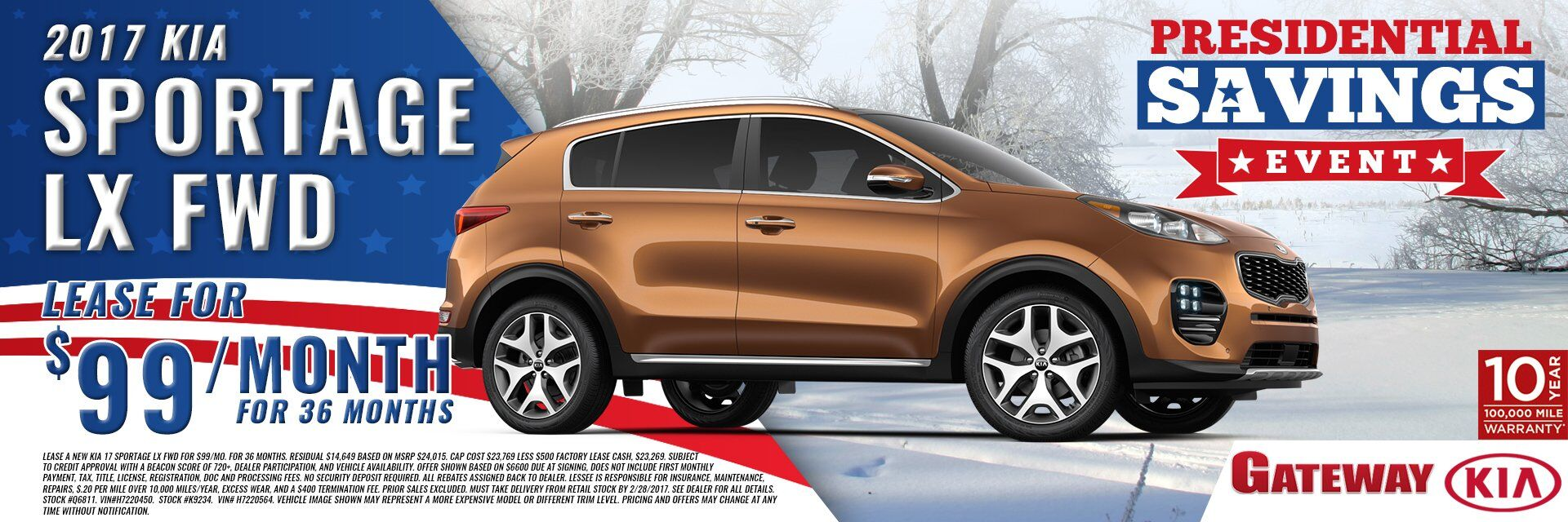 2017 KIA Sportage LX for $99 per mo