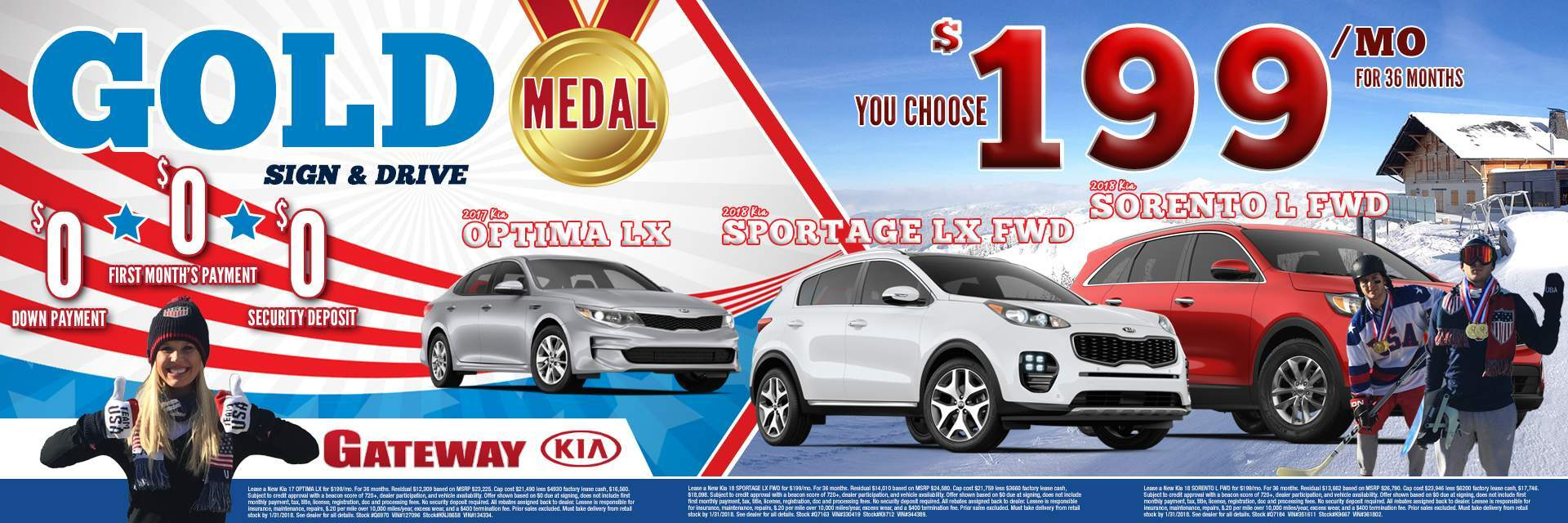 $199/mo Optima or Sportage or Sorento - You Choose
