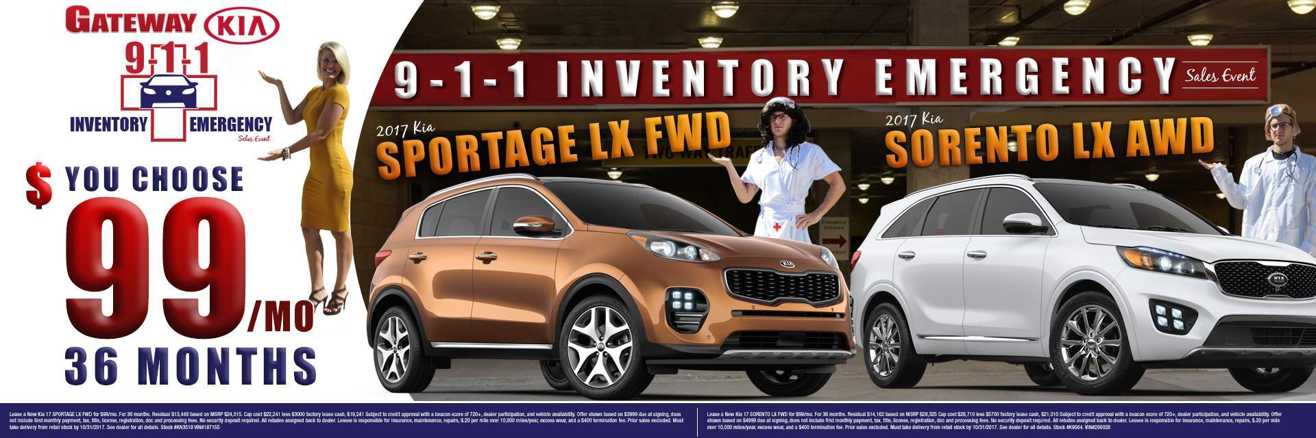 Sportage or Sorento $99/mo you choose