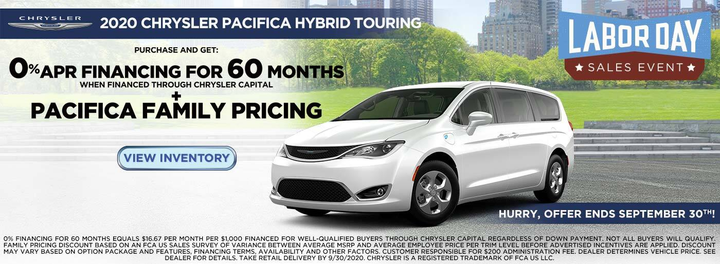 Pacifica Hybrid Touring 0% for 60 + Pacifica Family Pricing