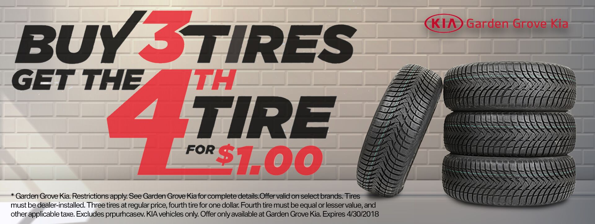 GG Tires buy 3 get 4th for $1
