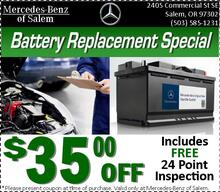 Save $35 Off Genuine Mercedes-Benz Battery Replacement