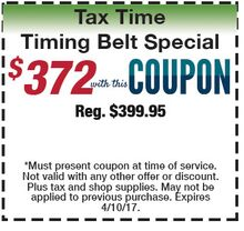 Tax Time - Timing Belt Replacement - $372