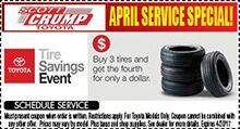 Buy 3 Tires & Get One for $1.00