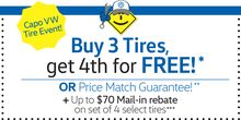 Buy 3 Tires, get 4th for FREE plus $70 Mail-in rebate