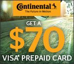Receive up to $70 Continental Tire Prepaid VISA with rebate