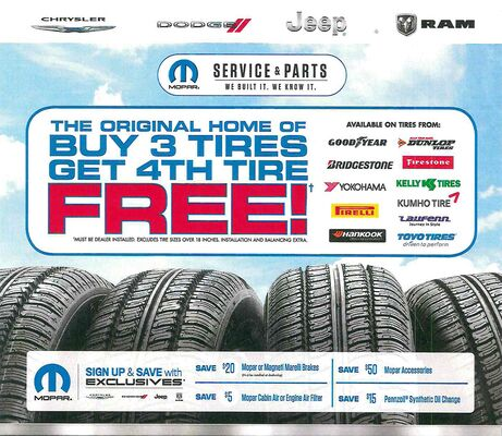 Buy 3 Tires, Get The 4th Tire Free