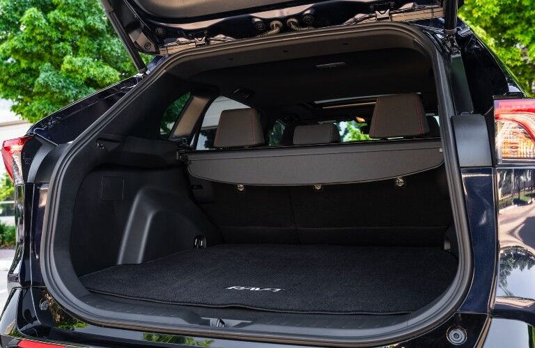 A photo of the cargo area in the back of the 2021 Toyota RAV4 Prime.