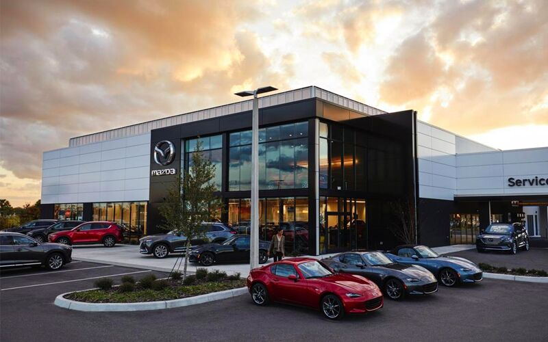 Sunset view of Mazda service center