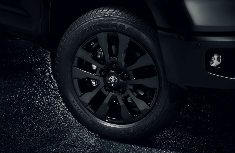 A photo of one of the exclusive wheel designs used by the 2021 Toyota Tundra Nightshade Edition.
