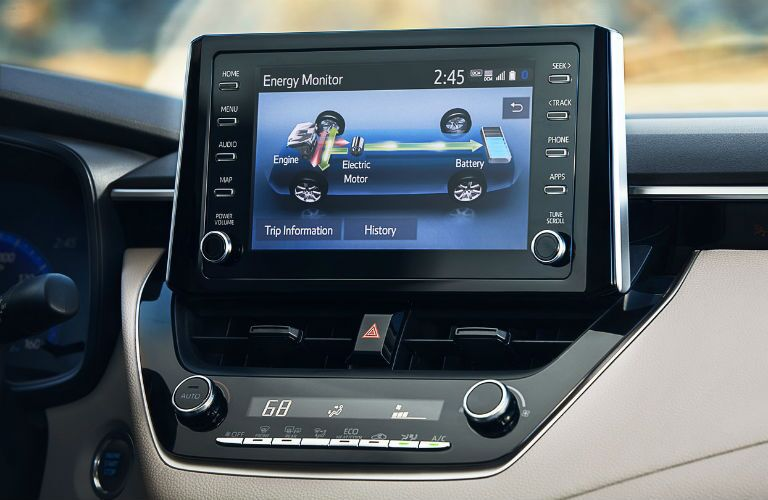 A photo of the hybrid system monitoring capability used by the 2021 Toyota Corolla Hybrid.