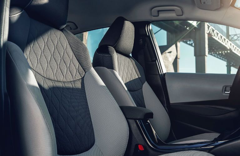 A photo of the front seats in the 2021 Toyota Corolla.